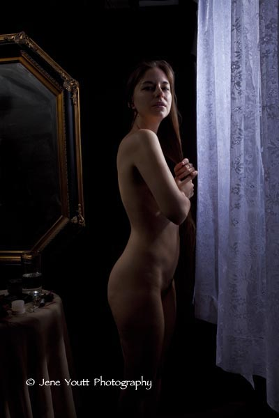 female nude with curtain & mirror