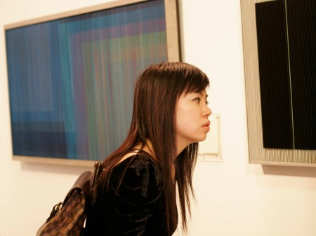 asian woman concentrating