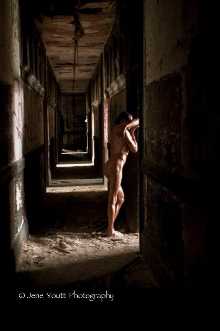 nude in hallway door