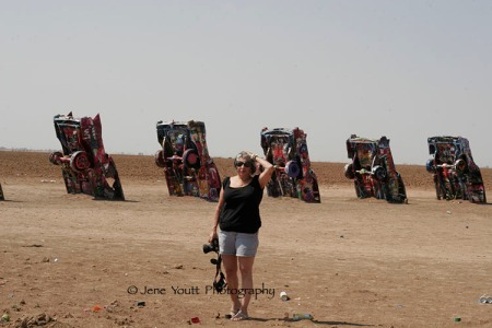 Mary at Cadillac ranch