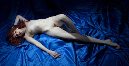 redhead nude on blue satin